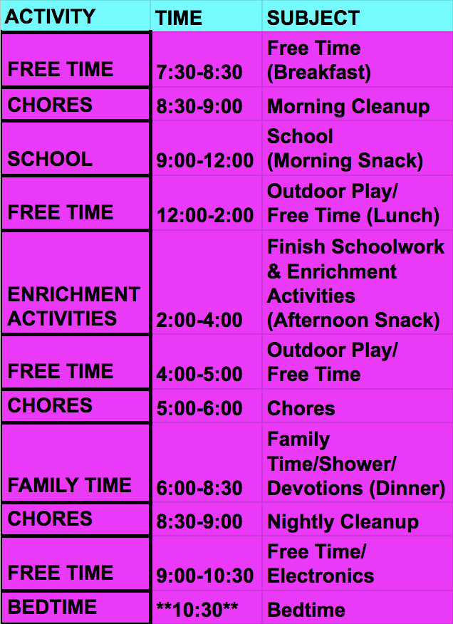 Elearning daily schedule for tweens